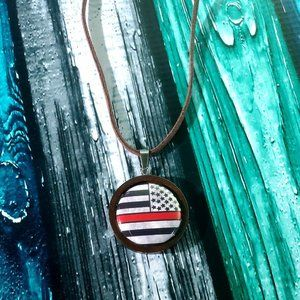 Thin Red Line Pendant Necklace
